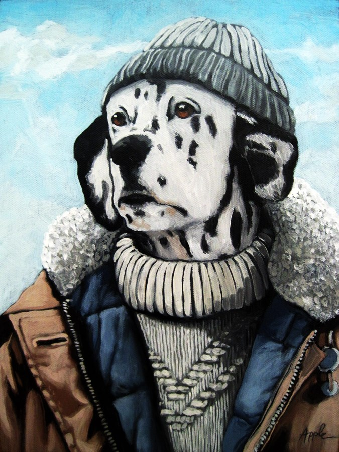 """SeaDog - Dalmatian dog portrait"" original fine art by Linda Apple"