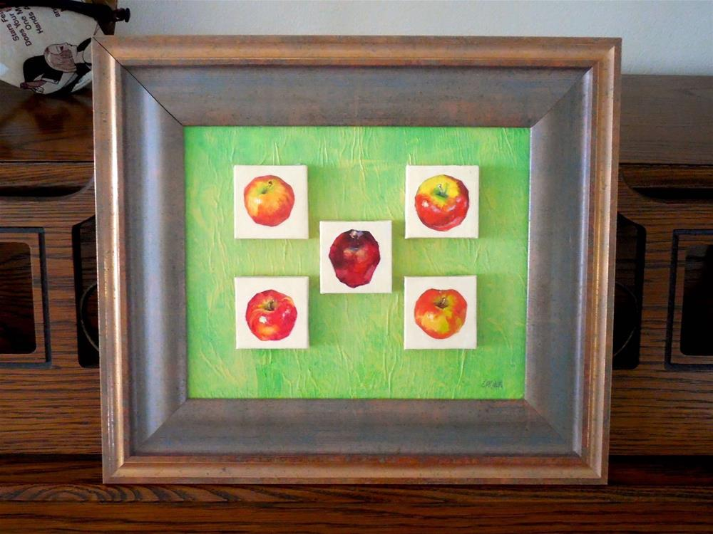 """Apple Collection, 8x10 Oil on Canvas, Mounted and Framed to 11x14"" original fine art by Carmen Beecher"