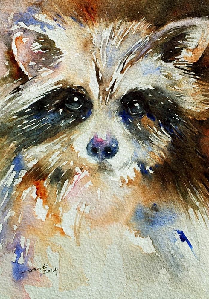 """Mr Raccoon"" original fine art by Arti Chauhan"