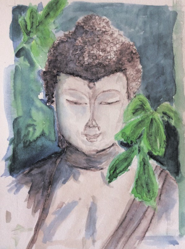 """Buddha"" original fine art by Klaudia Frieda"