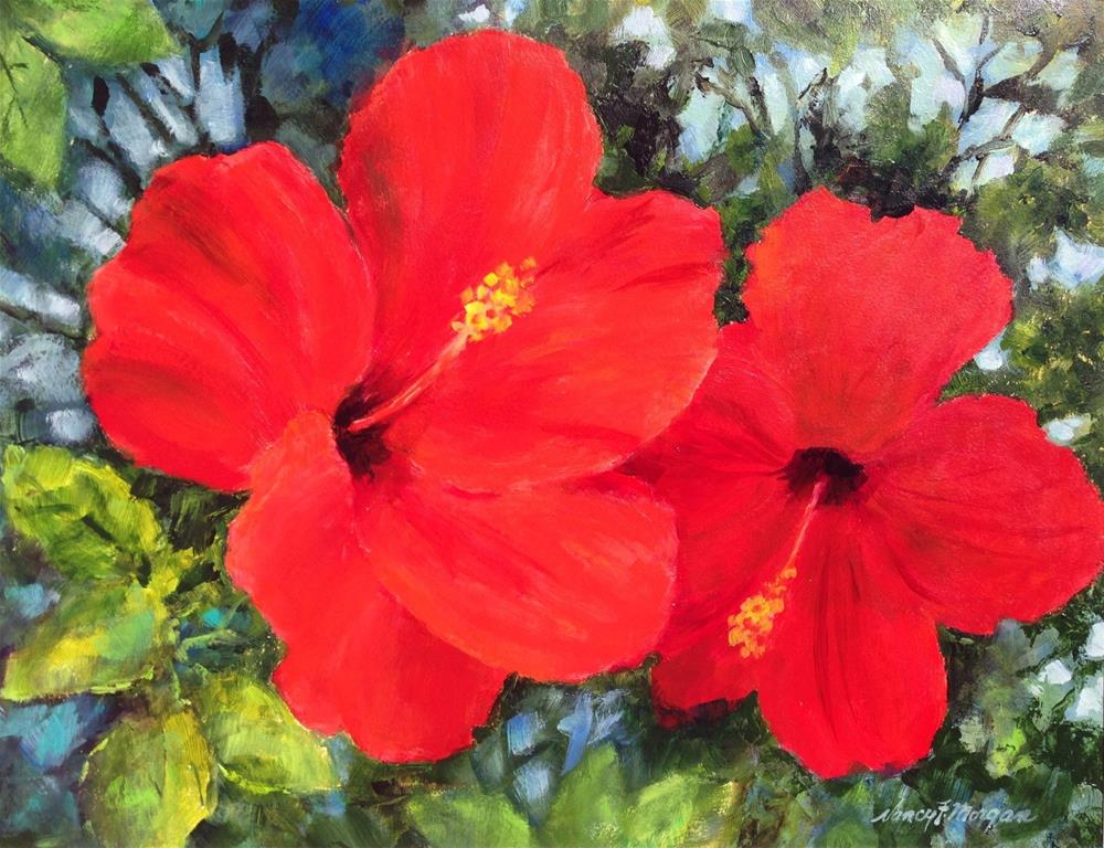 """Red Hibiscus"" original fine art by Nancy F. Morgan"
