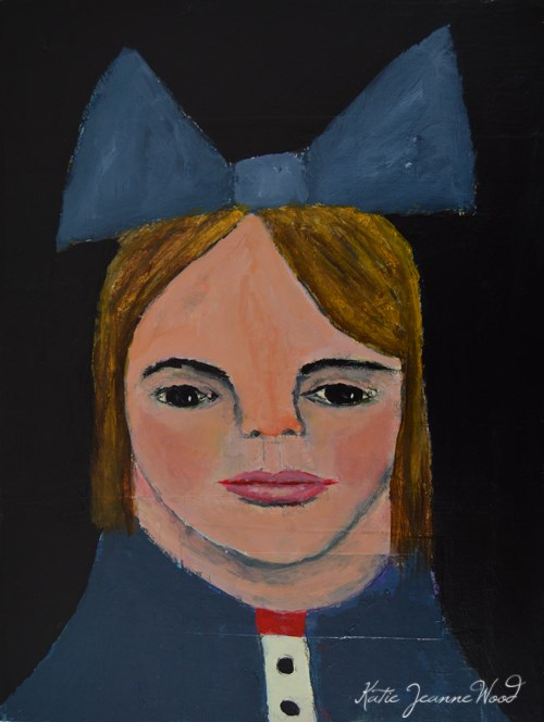 """Lauren Wore a Big Blue Bow"" original fine art by Katie Jeanne Wood"