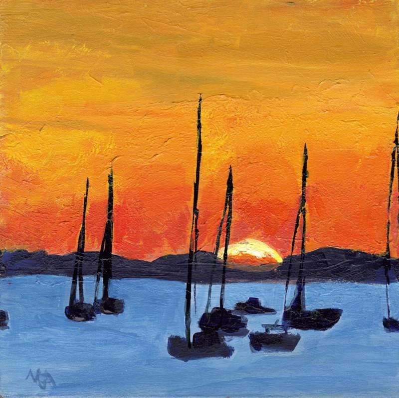 """Harbor Sunset"" original fine art by Meredith Adler"