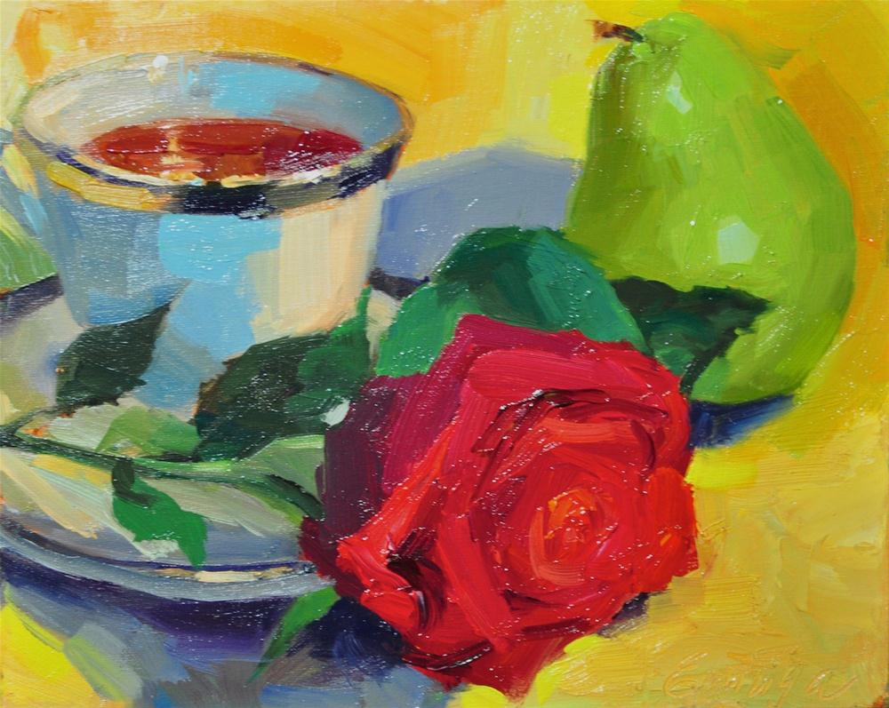 """Tea Rose oil on linen, 8x10"" original fine art by Emiliya Lane"