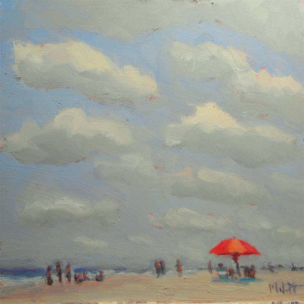 """Orange Umbrella Daytona Beach Vacation Series"" original fine art by Heidi Malott"