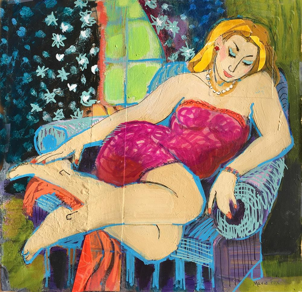 """Sleepy, reclining figurative woman"" original fine art by Marie Fox"