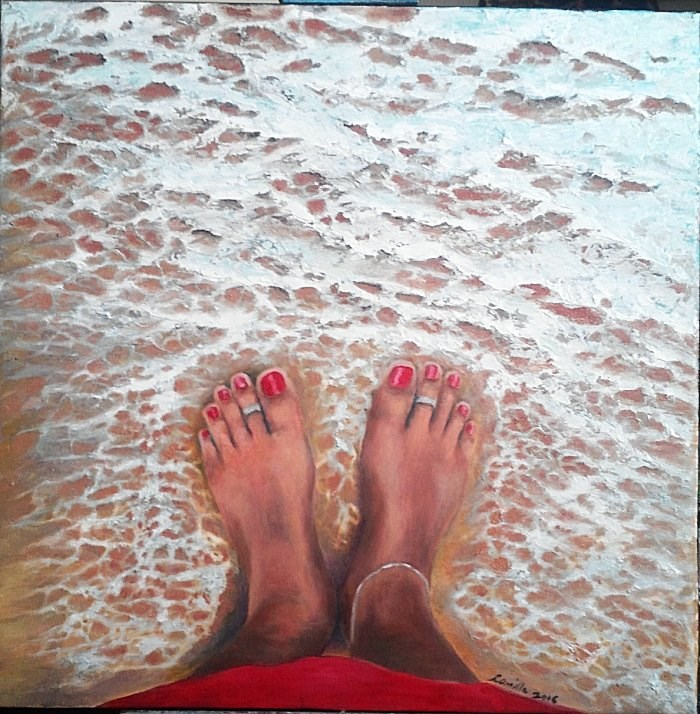 """Feet on Beach"" original fine art by Camille Morgan"