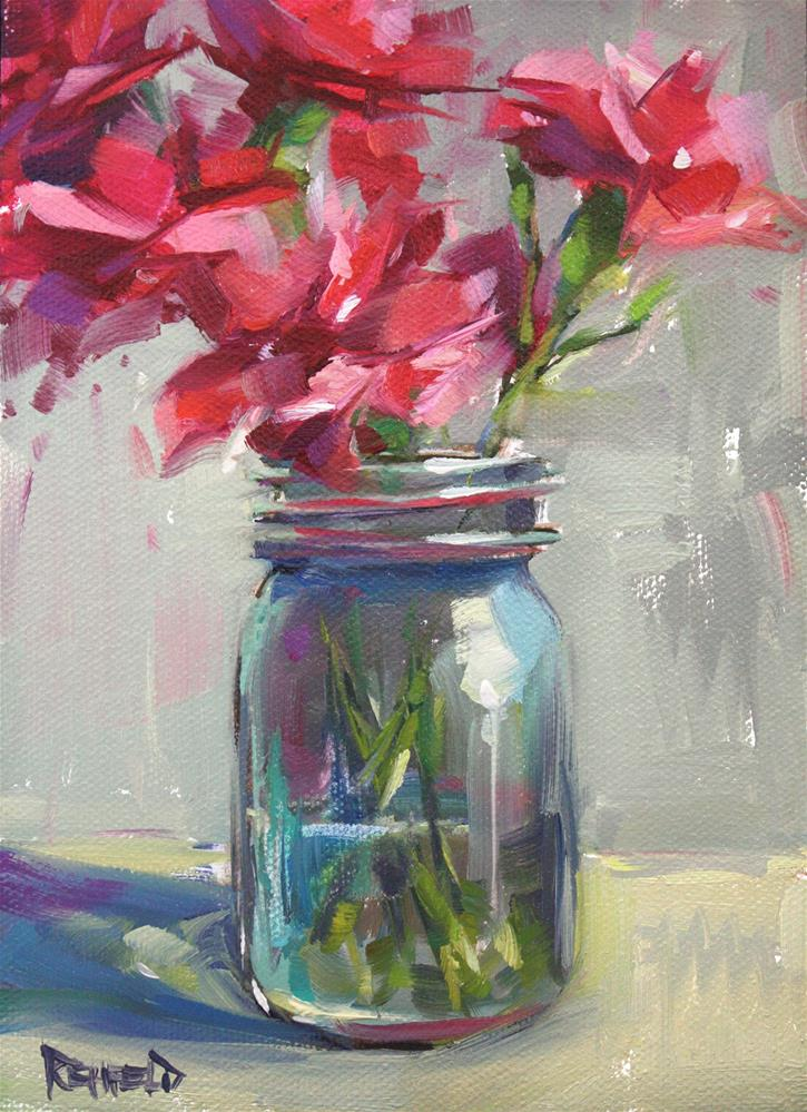 """Pink Flowers in a Jar"" original fine art by Cathleen Rehfeld"