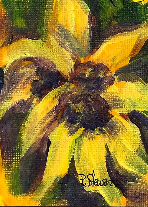 """""""Sunflowers, An Original ACEO signed by the artist, Acrylic Abstract Style"""" original fine art by Penny Lee StewArt"""