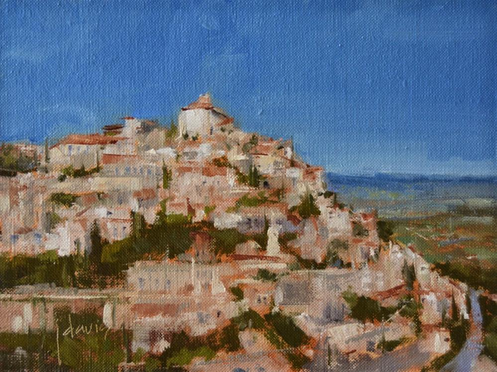 """Hilltop Village"" original fine art by Julie Davis"