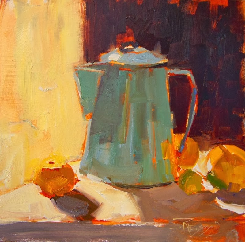 """Coffee Pot Demo still life demo painting in Pescadero by Robin Weiss"" original fine art by Robin Weiss"