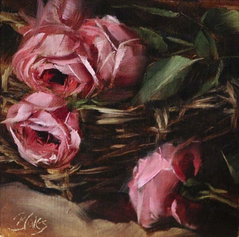 """""""Blushing Basketful"""" original fine art by Pamela Blaies"""