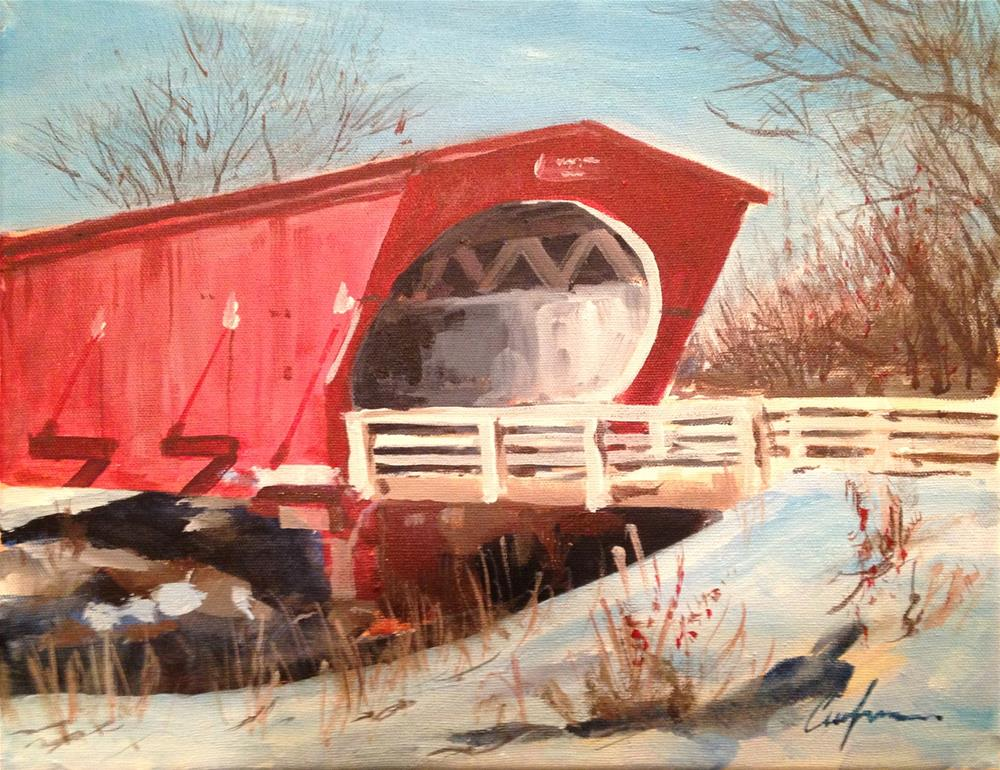 """Hogback Covered Bridge, Madison County, Iowa"" original fine art by Cornelis vanSpronsen"