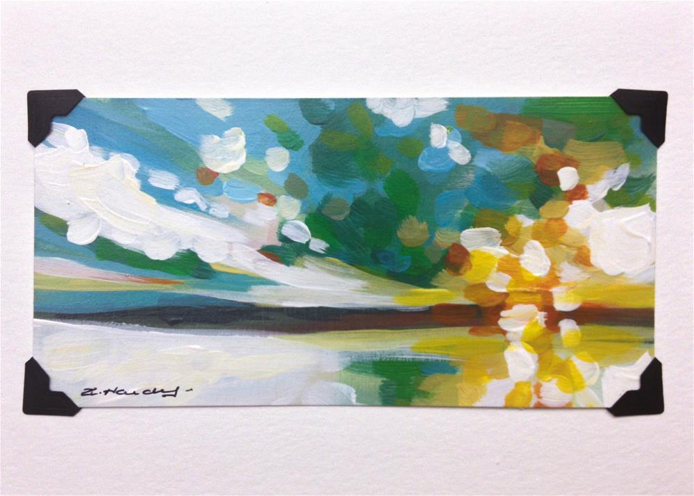 """landscape study #3 mounted on 5x7 White Watercolor card"" original fine art by Angela Hardy"