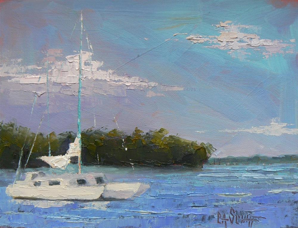 """Painting on Sale, Boat Painting, Small OIl Painting, Tropical Landscape Art, Lowering the Sails by"" original fine art by Carol Schiff"