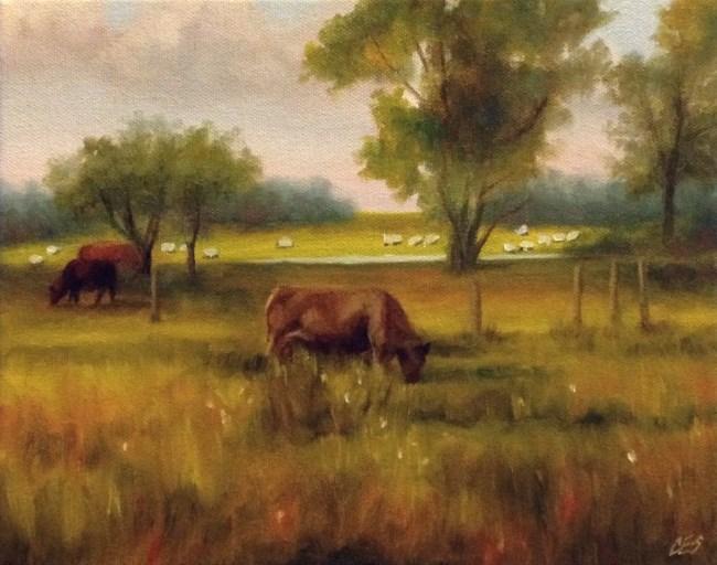 """Cattle and Sheep"" original fine art by ~ces~ Christine E. S. Code"