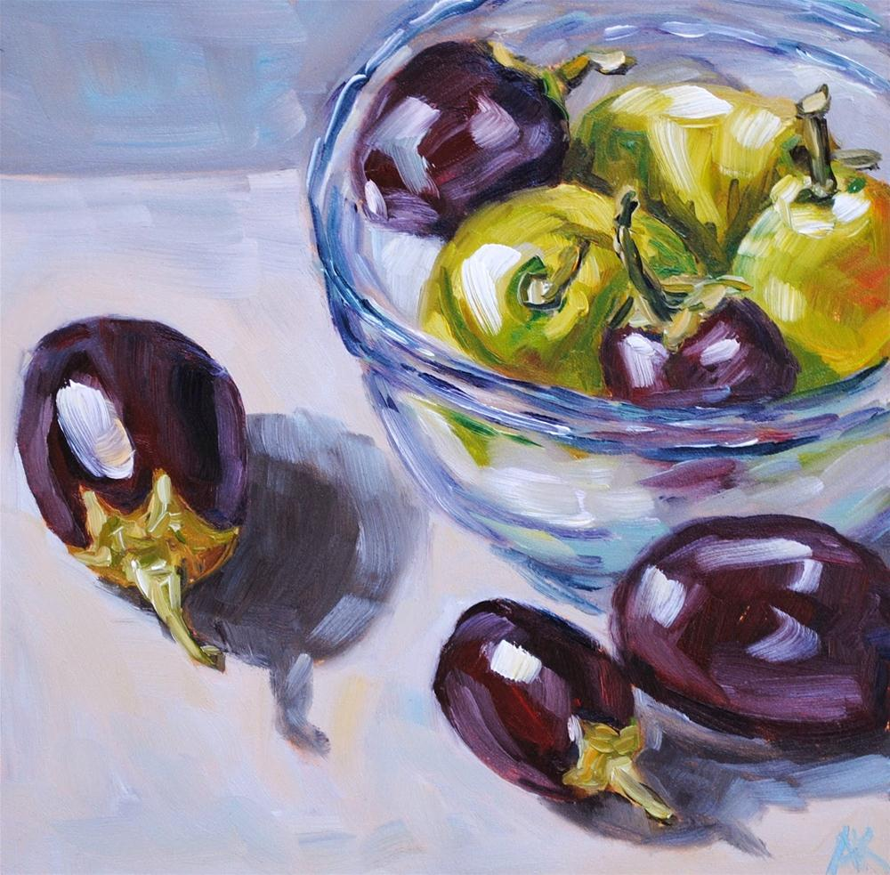 """Eggplant and Pears"" original fine art by Alison Kolkebeck"