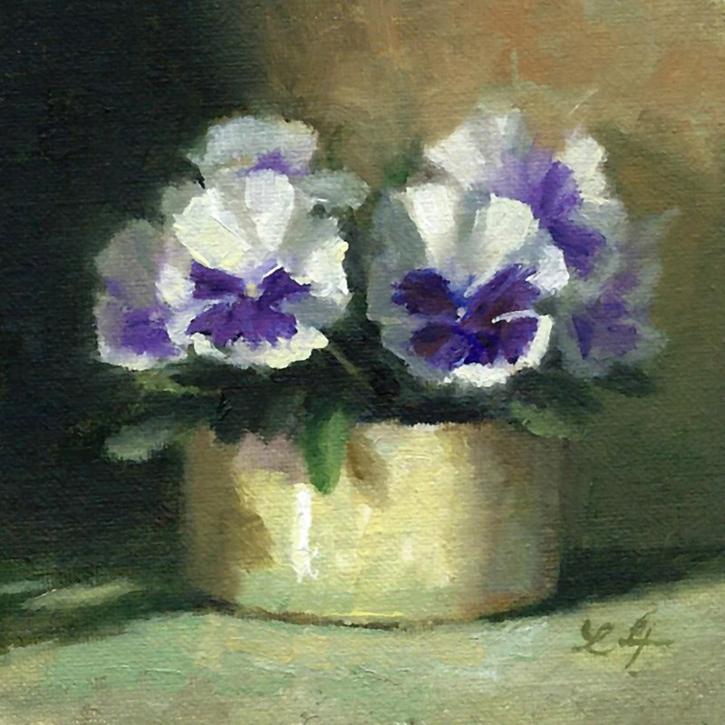 """Mini Pansies"" original fine art by Linda Jacobus"