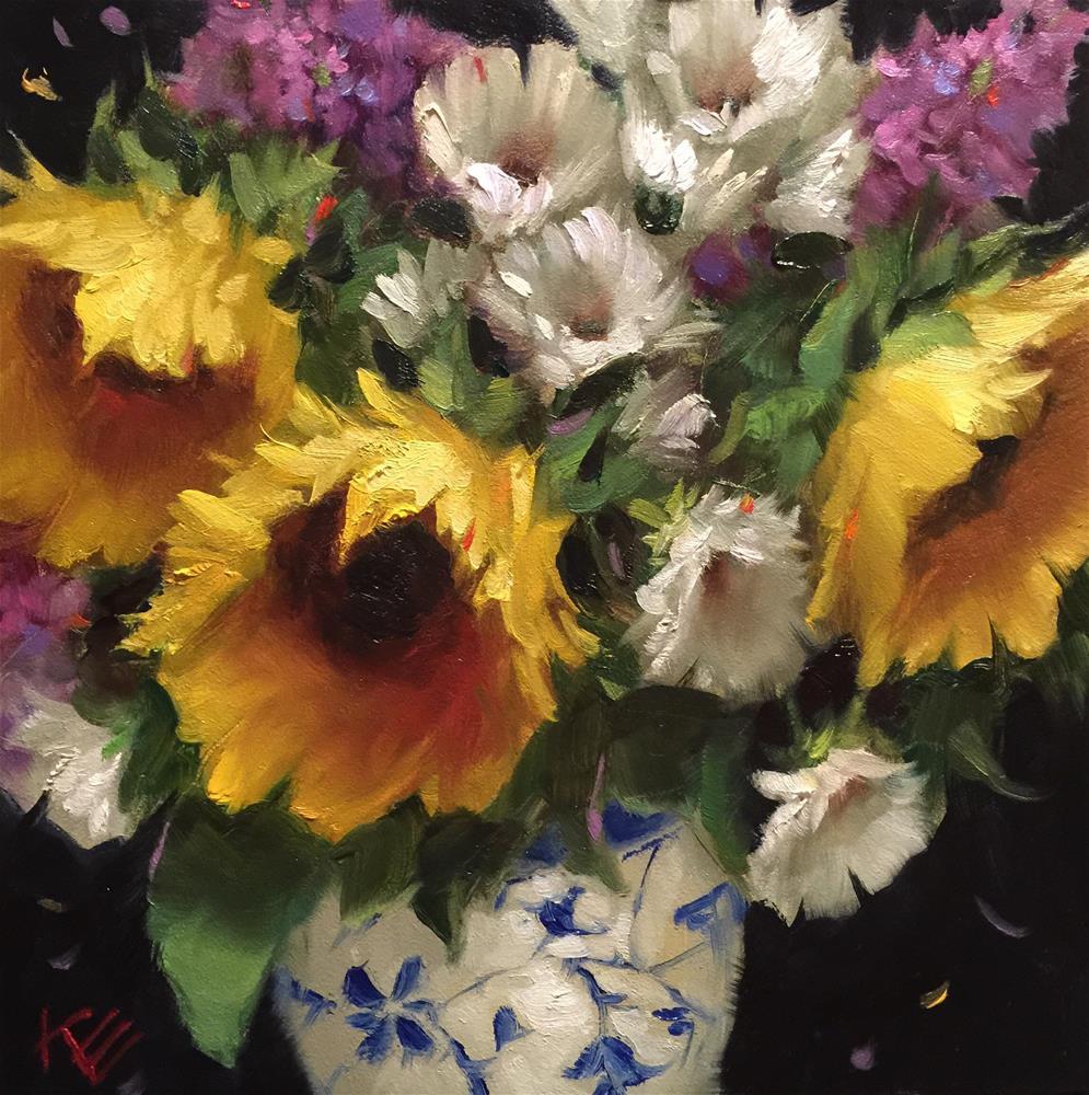 """Daisies & Sunflowers"" original fine art by Krista Eaton"