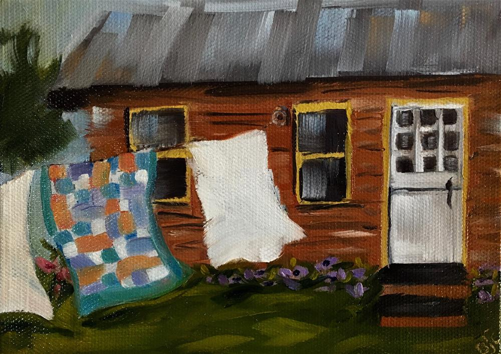 """Laundry Day"" original fine art by Bobbie Cook"