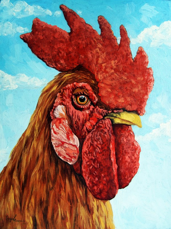 """Rooster farm animal portrait King of the Roost"" original fine art by Linda Apple"