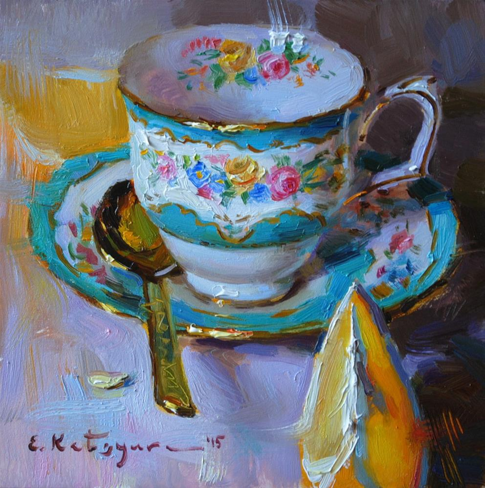 """Flower Cup and Orange"" original fine art by Elena Katsyura"