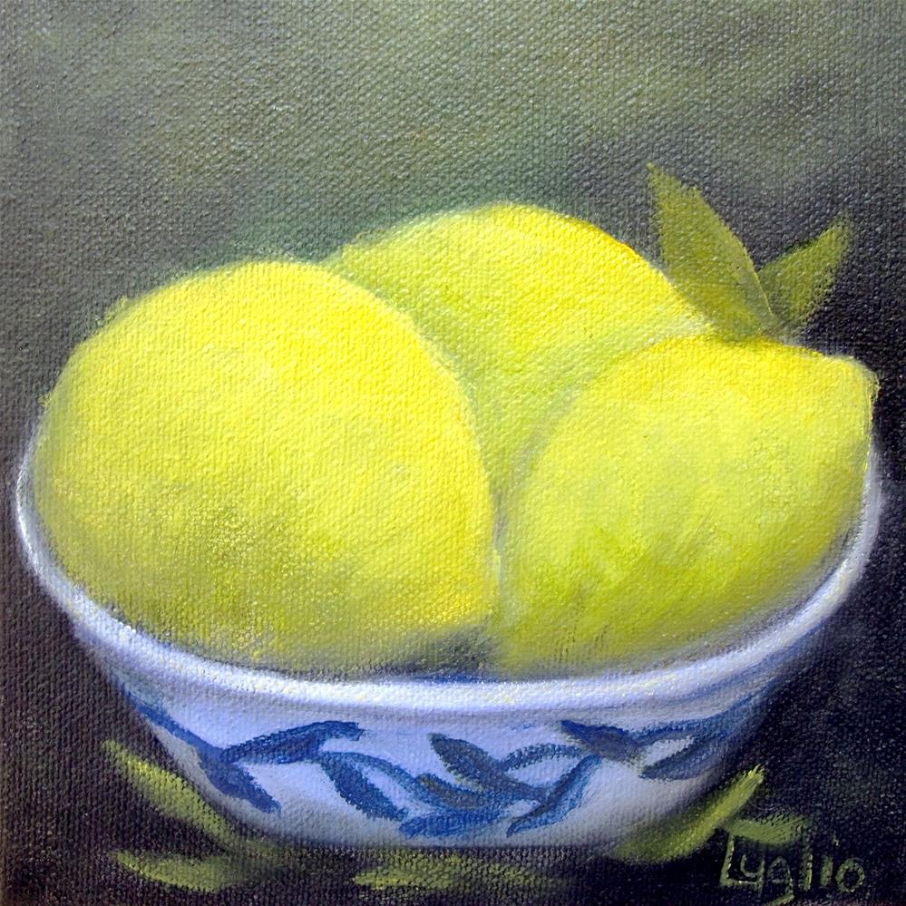 """Three Lemons"" original fine art by Loretta Luglio"