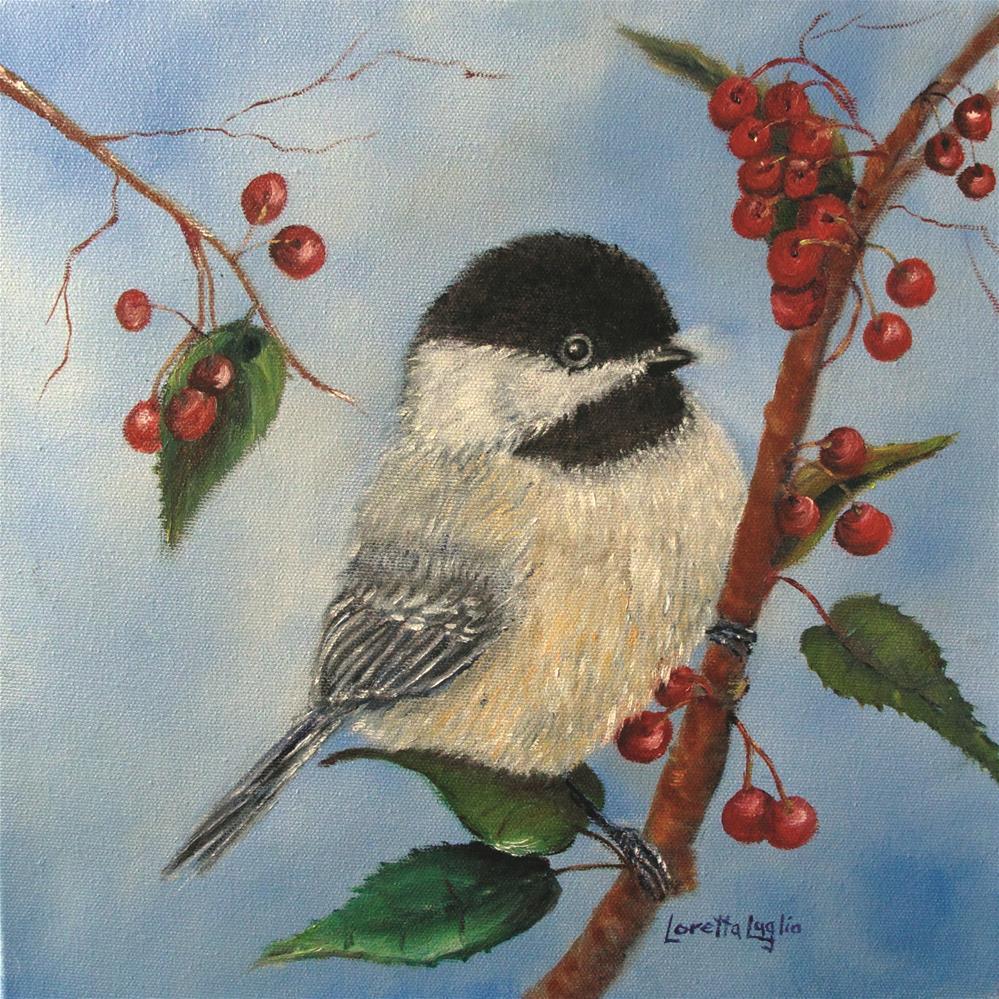 """""""Black Capped Chickadee with Winterberries"""" original fine art by Loretta Luglio"""