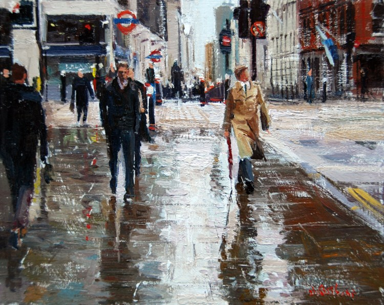"""Rain & Reflections, Cannon Street  I"" original fine art by Adebanji Alade"
