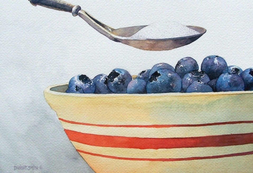 """ BOWL OF BLUEBERRIES WITH SUGAR "" original fine art by Dwight Smith"