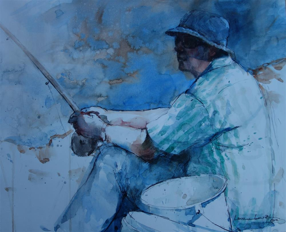 """River fishing"" original fine art by Lorraine Lewitzka"