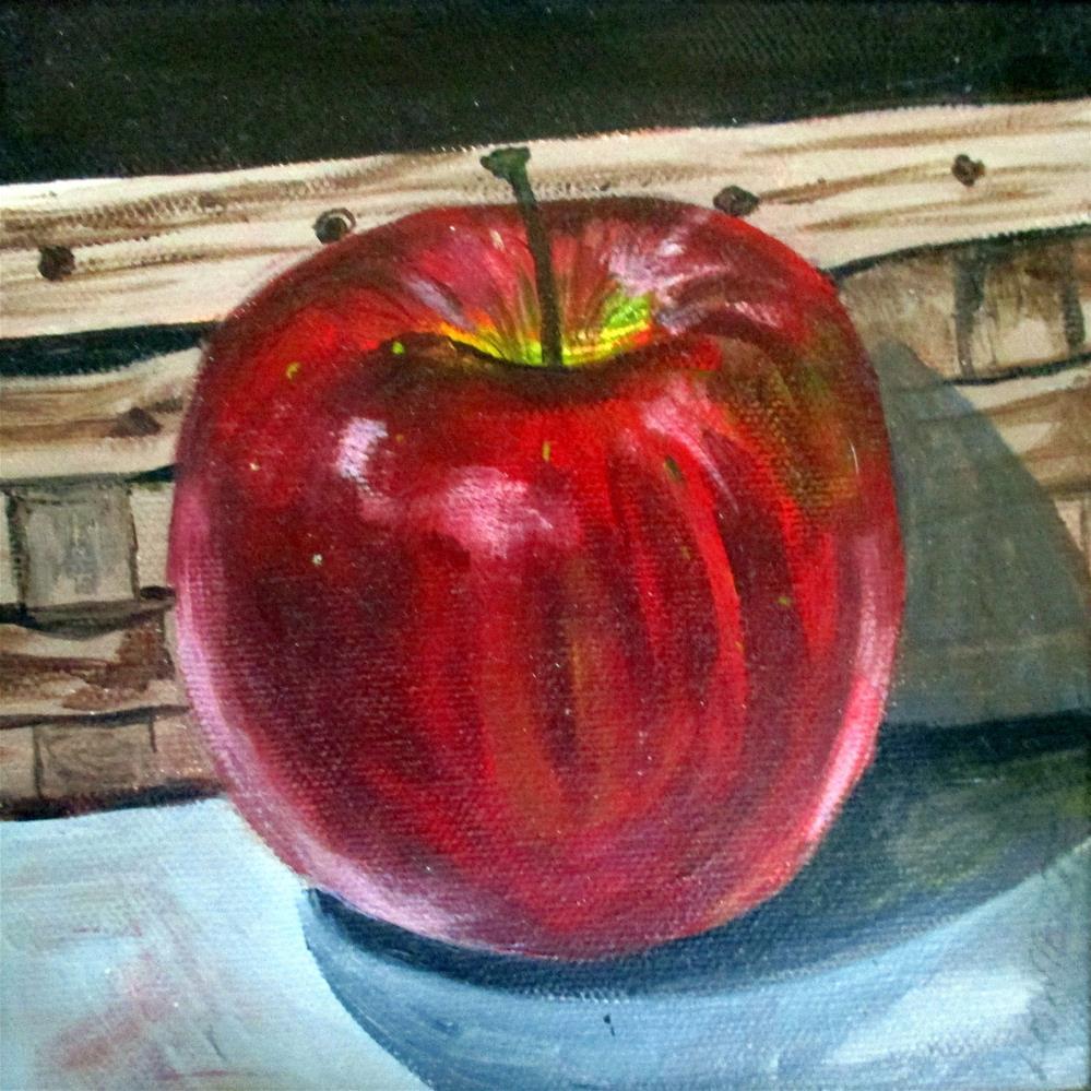 """""""Apple with Basket"""" original fine art by Lisa Wiertel"""