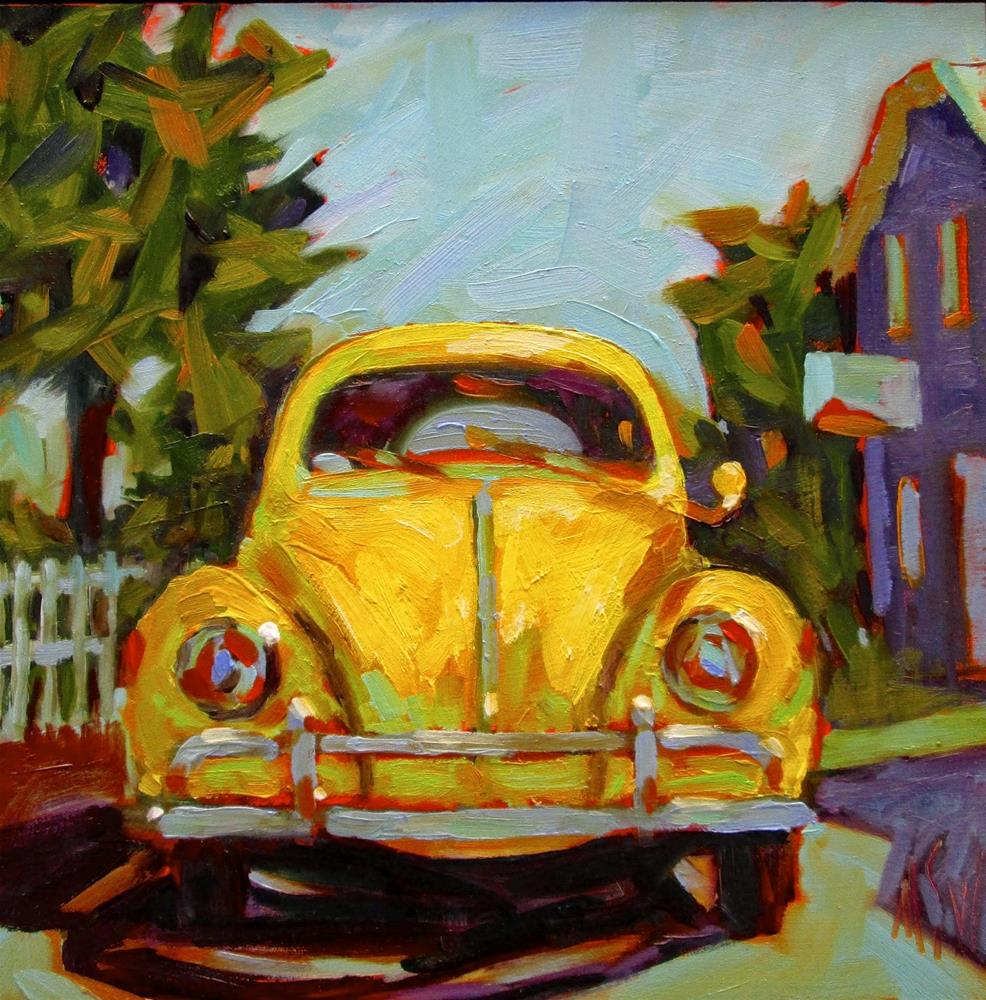 """That's Classic Yellow Volkswagen This was a commission done from a previous painting but the customer wanted a yellow VW. I can do these in any color :D"" original fine art by Mary Sheehan Winn"