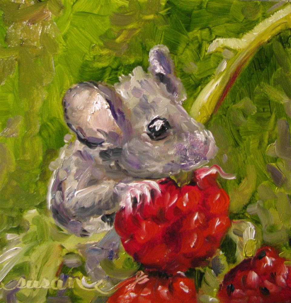 """Raspberry Field Mouse"" original fine art by Susan Elizabeth Jones"