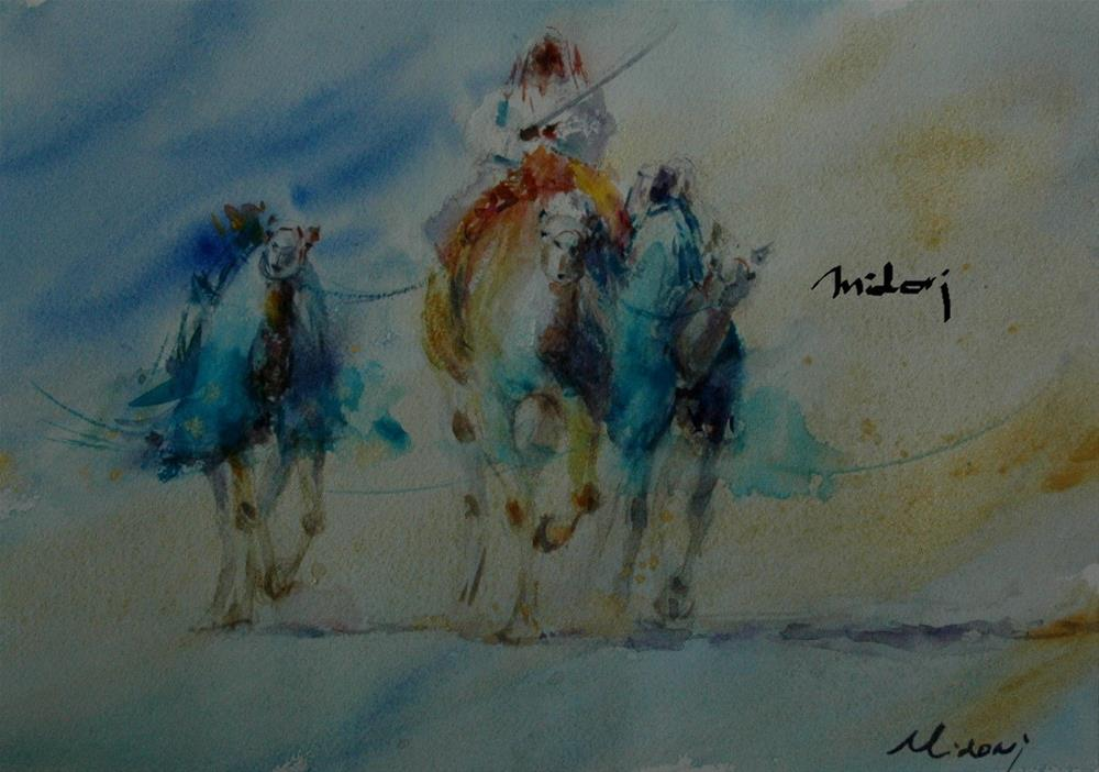 """Swiming in Al Ain Camel racetrack"" original fine art by Midori Yoshino"