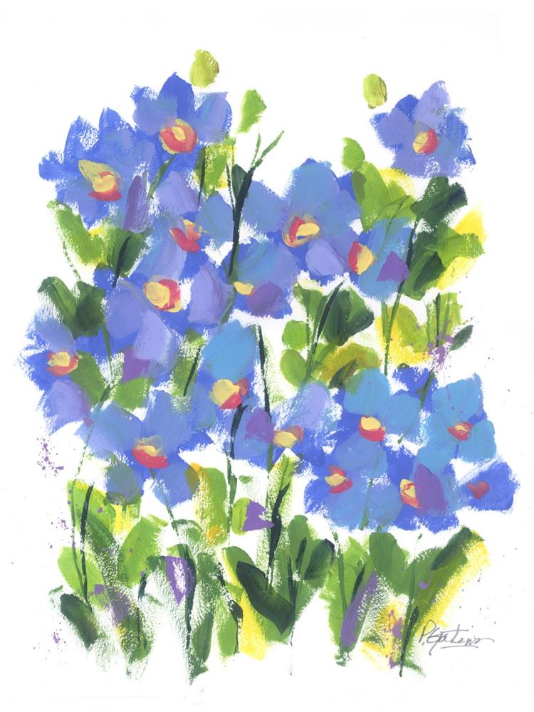 """Wild Blue Poppies"" original fine art by Pamela Gatens"