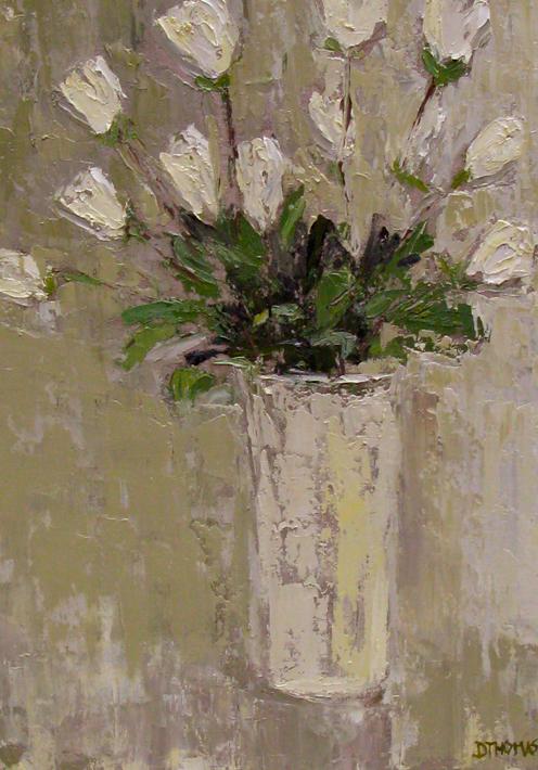 """White Roses in White Vase"" original fine art by Donna Thomas"