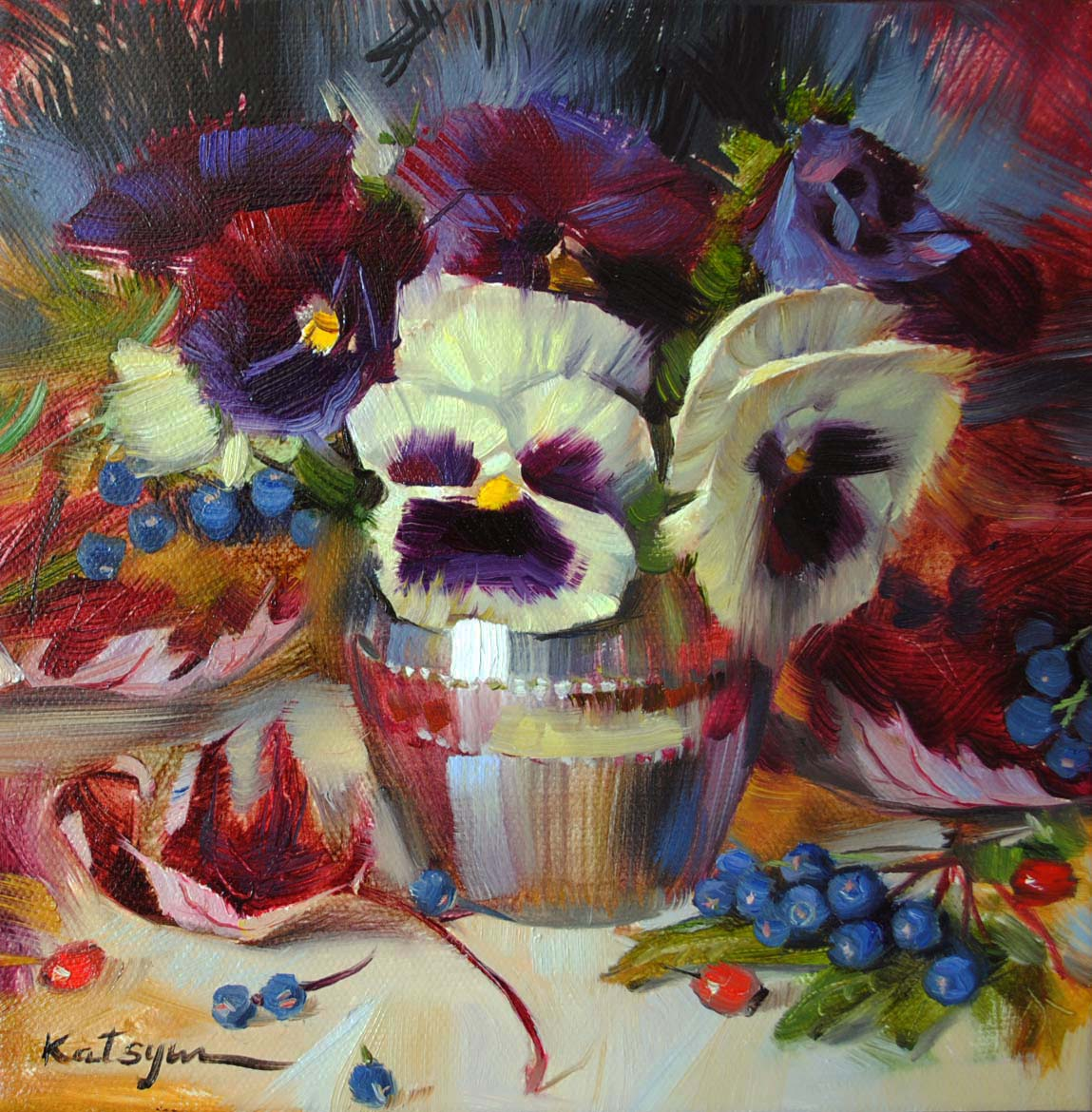 """Pansies & Autumn Leaves"" original fine art by Elena Katsyura"