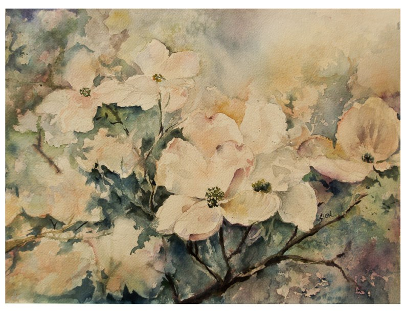 """Dogwoods"" original fine art by Sue Dion"