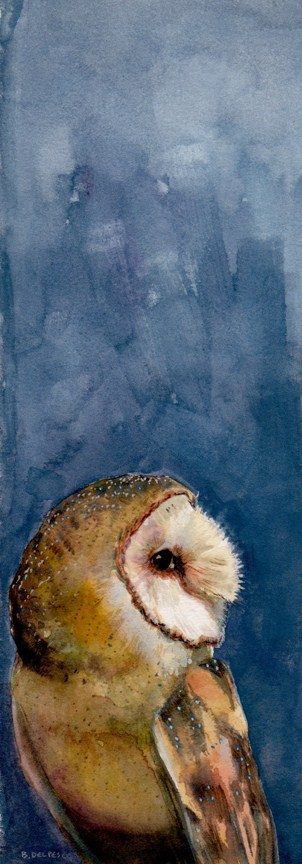 """Watercolor: Tyto Alba"" original fine art by Belinda Del Pesco"