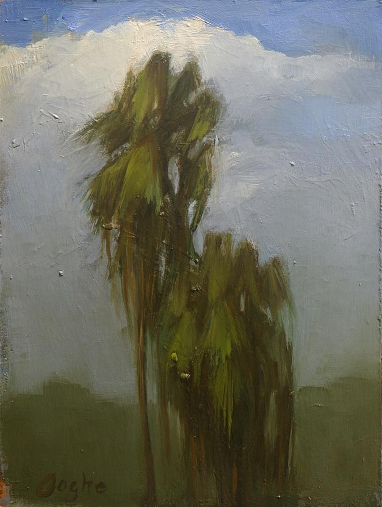 """Palm Trees Smokey Sky"" original fine art by Angela Ooghe"