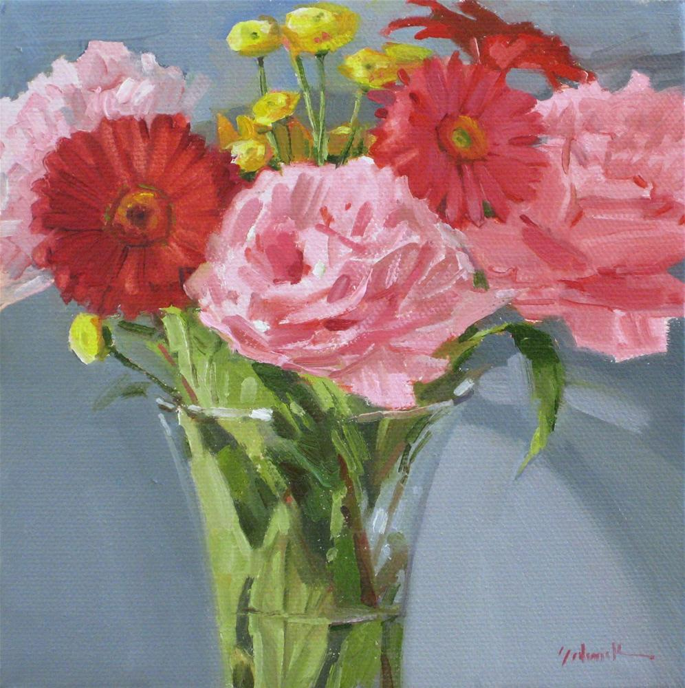 """Pink Peonies"" floral still life flower vase bouquet orignal oil painting original fine art by Sarah Sedwick"
