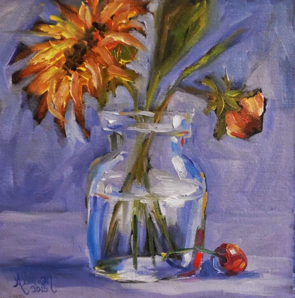 """Hello Down There sunflower painting by Alabama Artist Angela Sullivan"" original fine art by Angela Sullivan"