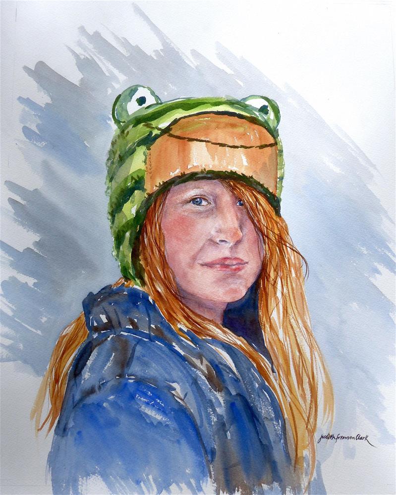 """Girl in a Frog Hat"" original fine art by Judith Freeman Clark"