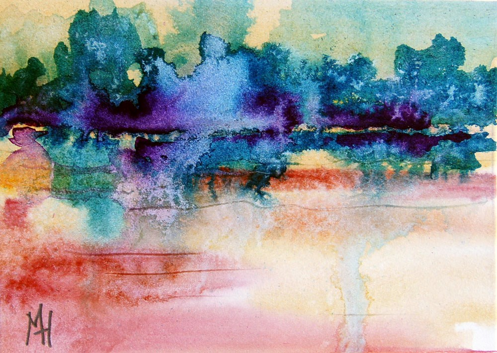 """""""Sunrise at the lake 5 ACEO"""" original fine art by Marion Hedger"""