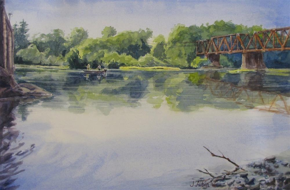 """Angling Between Bridges"" original fine art by Jane Albin"