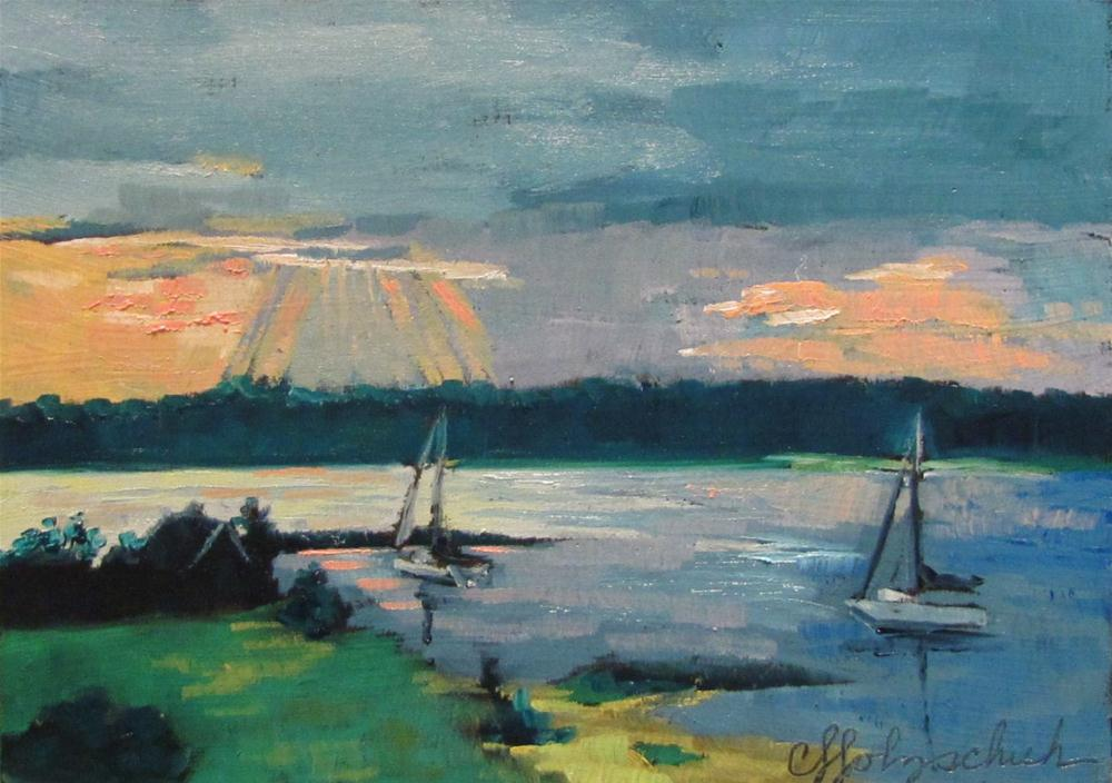 """Sunset on the Bay 5x7 oil $100"" original fine art by Christine Holzschuh"