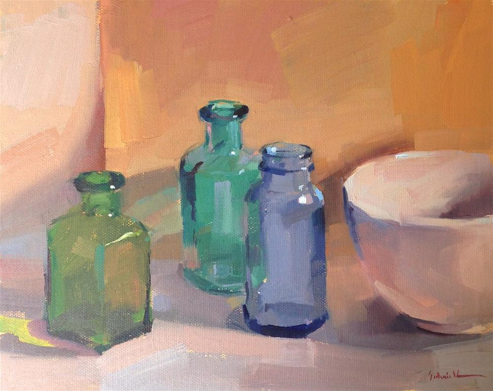 """Bottles at the Gallery"" original fine art by Sarah Sedwick"