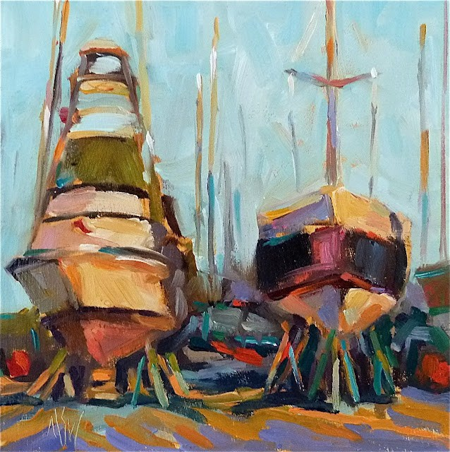 """In Storage 6x6 oil on board. Love the abstract scenes of boatyards. Late winter sun setting. FRAMED"" original fine art by Mary Sheehan Winn"