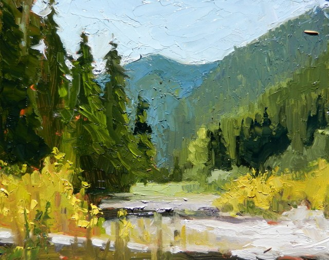 """""""The White River from Silver Springs, Mount Rainier National Park, plein air, oil landscape paintin"""" original fine art by Robin Weiss"""